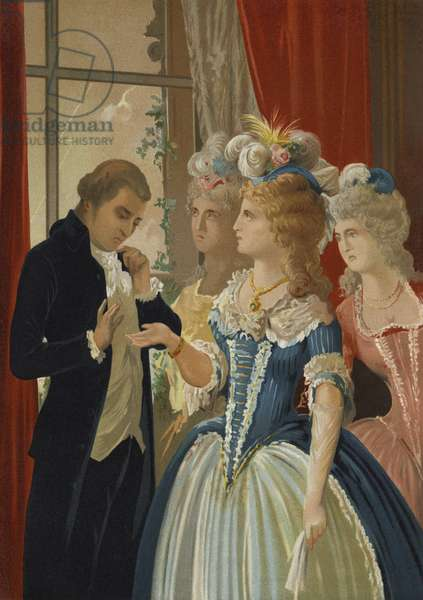 Alessandro Cagliostro and Marie Antoinette at the Petit Trianon, Versailles (chromolitho)