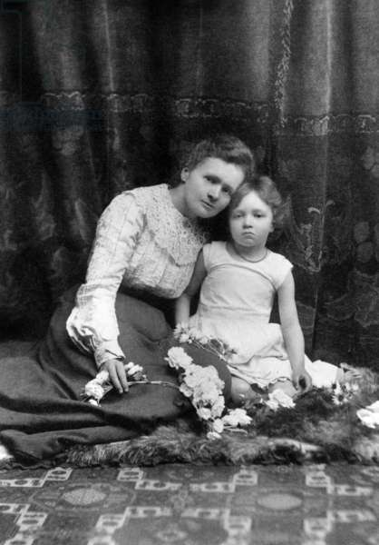 Marie Curie (1867-1934) French physicist, Nobel Prize here with her daughter Irene (Joliot - Curie) France