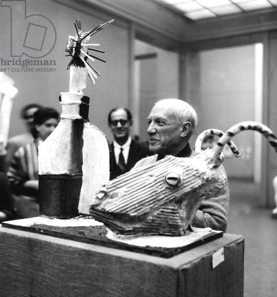 Pablo Picasso Near his Sculpture Goat With Bottle May 7, 1953 (b/w photo)