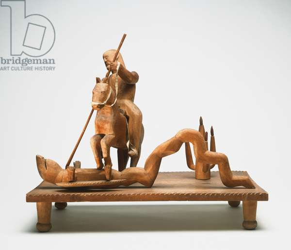 Saint George and the Dragon, c.1955-60 (carved cottonwood & leather)