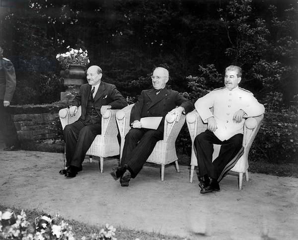POTSDAM CONFERENCE, 1945 Allied leaders at the Potsdam Conference in Berlin, Germany, July 1945. Left to right: British Prime Minister Clement Attlee, American President Harry Truman, and Soviet Premier Joseph Stalin.