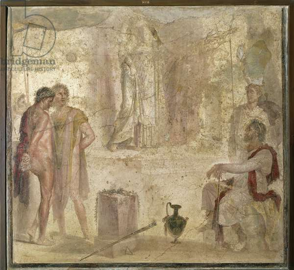 Italy, Campania, Pompei, House of Golden Cupids, Orestes and Pylades before Iphigenia, fresco