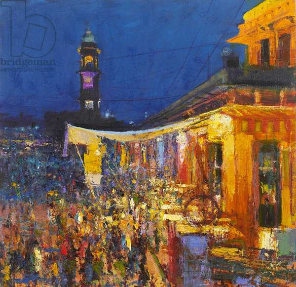 Chai Cafe in Clock Tower Square, Jodphur, 2017, oil on panel