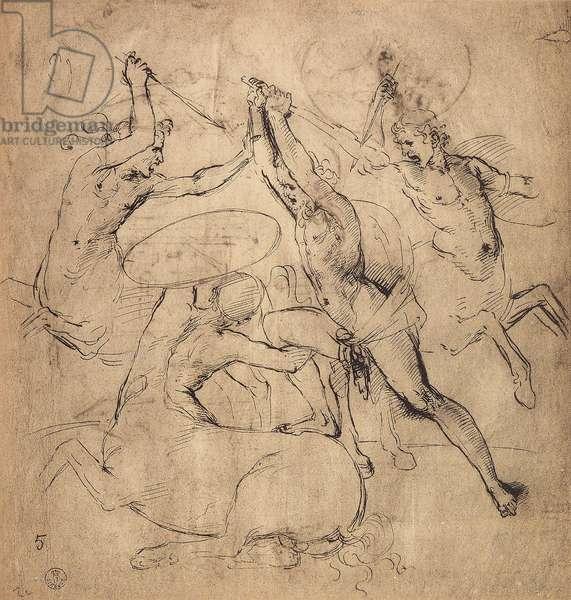 Hercules kills the centaur; drawing by Raphael. Gabinetto dei Disegni e delle Stampe, Uffizi Gallery, Florence
