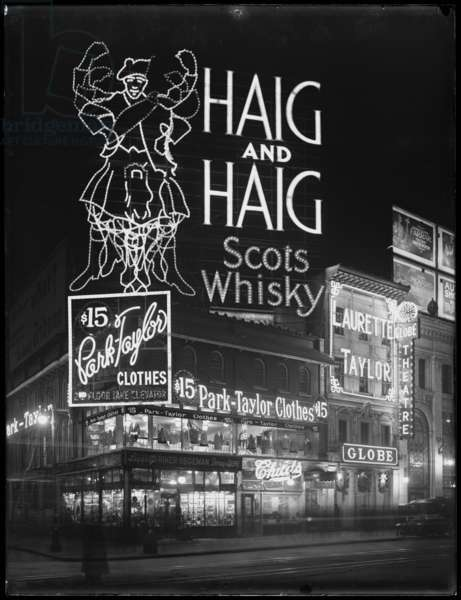Illuminated sign for Haig and Haig Whiskey, New York City, January 6, 1917 (b/w photo)