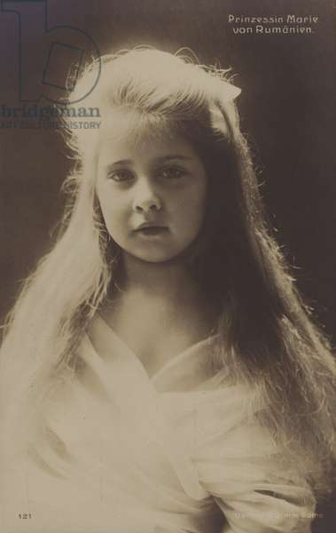 Princess Maria of Romania, later queen consort of King Alexander I of Yugoslavia, as a young child (b/w photo)