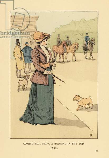 Coming back from a morning in the Bois de Boulogne, 1890. Fashionable woman in jacket and skirt, with hat and parasol, walking with dogs along the Avenue Foch toward the Arc de Triomphe. Handcoloured lithograph by R.V. after an illustration by Francois Courboin from Octave Uzanne's Fashion in Paris, William Heinemann, London, 1898.