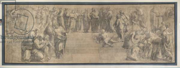 Preparatory cartoon for The School of Athens, 1510 (charcoal and white lead)