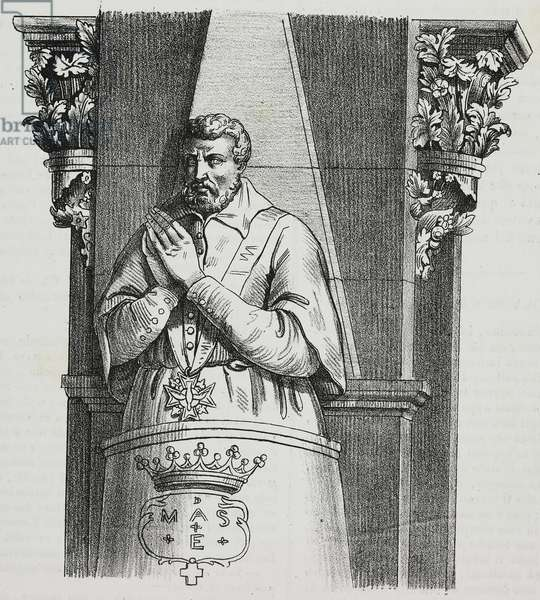 Tomb of Jacques Amyot (1513-1593) in Auxerre cathedral, France, lithograph by Sardi from Poliorama Pittoresco, n 2, August 21, 1841