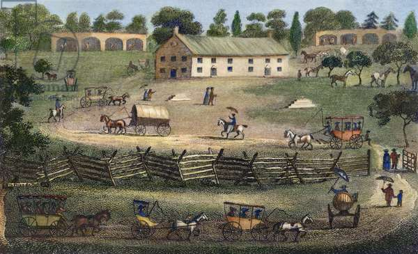 QUAKER MEETING, 1811 American friends (Quakers) going to meeting in summer. Wood engraving, 1811.
