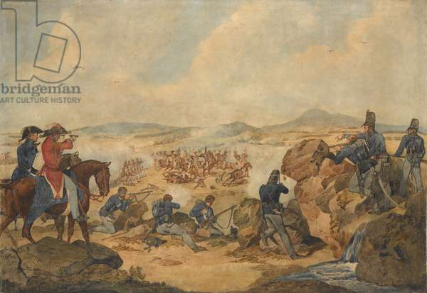 An action during the Peninsular War, with riflemen of 95th (Rifle) Regiment acting as snipers, c.1810 (w/c on paper)