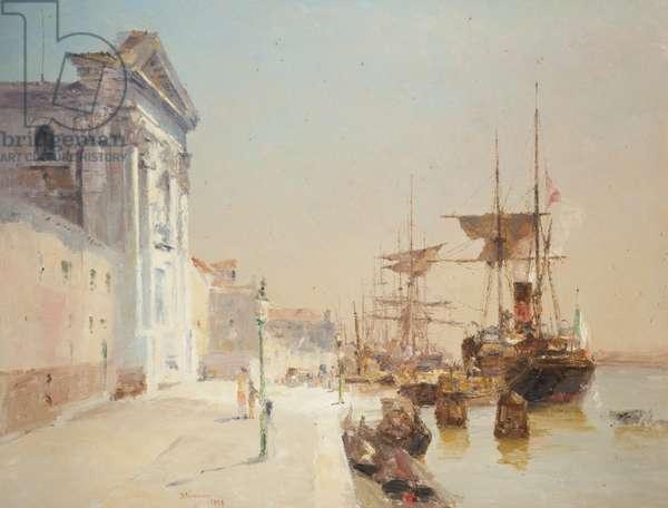 A quay scene, Venice, 1898 (oil on canvas)
