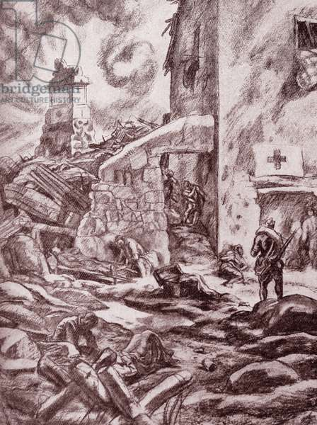 Illustration depicting a scene from the Spanish Civil War