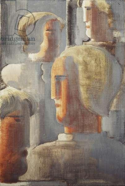 Group of Four Heads Gray Blue, Folkwang-Study III; Vier Kopfergruppe Graublau, Folkwang-Studie III, 1928 (oil and tempera on canvas)