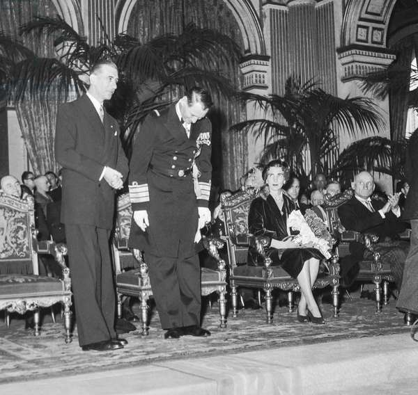 Danish sovereigns in Paris, November 29, 1950 : King Frederick IX of Denmark and Queen Ingrid with Pierre de Gaulle and Robert Schuman at Paris City Hall (b/w photo)