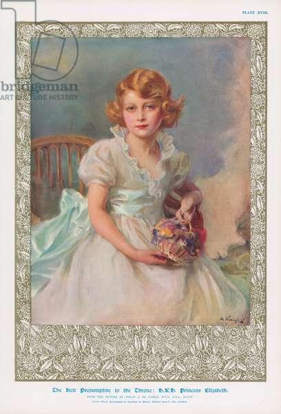 Princess Elizabeth, eldest daughter of King George VI, future Queen Elizabeth II (colour litho)