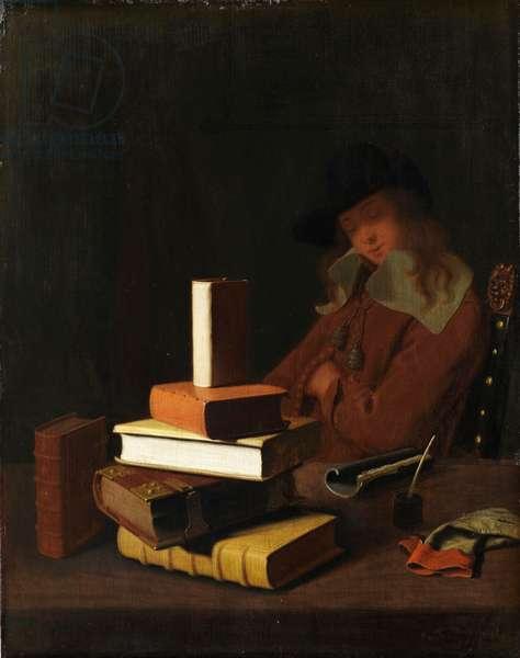 The Sleeping Student, 1663 (oil on wood)