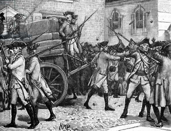 Armed escort for the stamped paper, New York, 1765