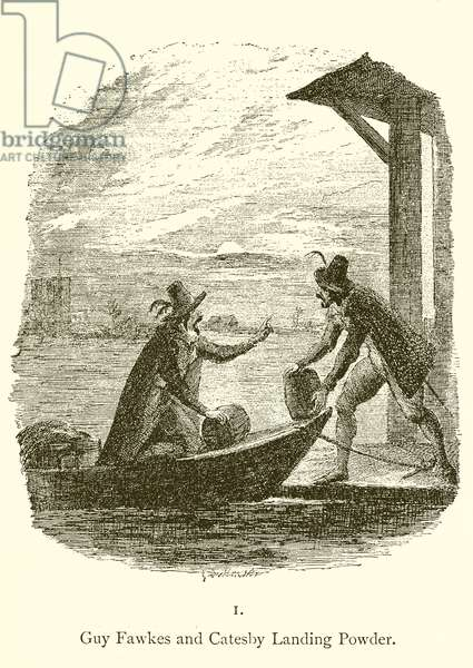 Guy Fawkes and Robert Catesby landing powder (engraving)