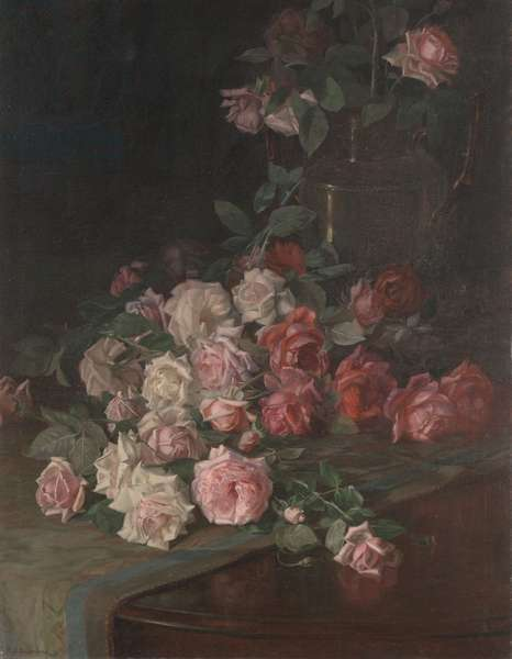 Roses and Mahogany, c.1900 (oil on panel)