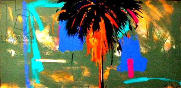 The Jigsaw Palm . Barbados  oil on canvas 50 x 100 cms . 2013.