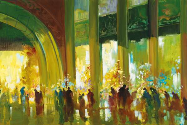 In the Hallway of the Shwedagon Pagoda, 2005 (oil on canvas)