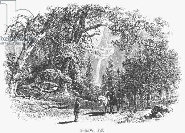 CALIFORNIA: YOSEMITE, 1874 Bridal Veil Falls at Yosemite Valley, California. Wood engraving, American, 1874.