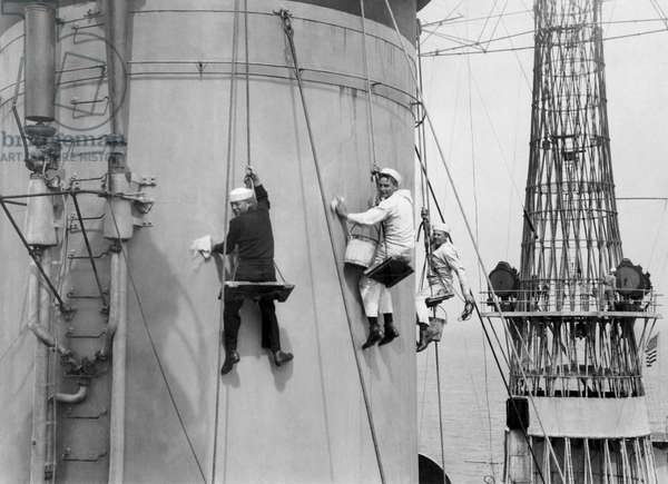 Cleaning A Battleship, United States, c.1919 (b/w photo)