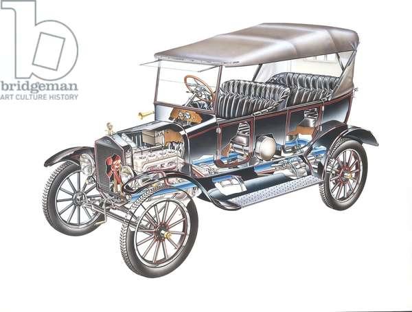 Model T Ford, (1908), cutaway, illustration