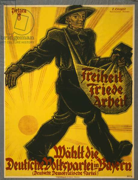 Freiheit, Friede, Arbeit, Wählt die Deutsche Volkspartei in Bayern, pub. Munich, 1919 (colour litho)