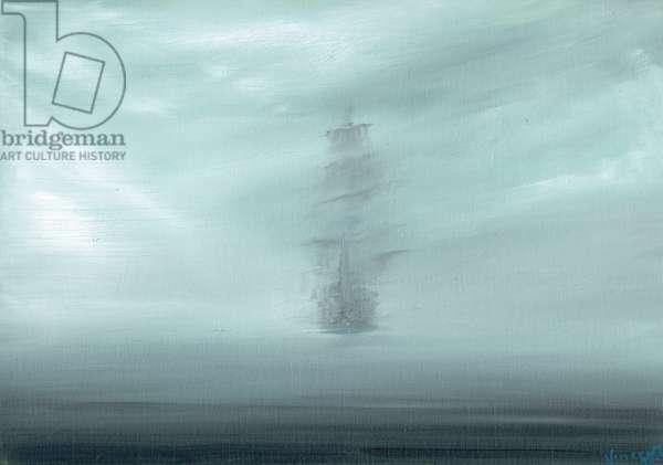 Pacific Dawn, HMS Endeavour 1769, 2017 (oil on canvas board)