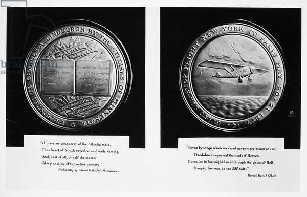 LINDBERGH: GOLD MEDAL Gold medal awarded by his native state of Minnesota to Charles A. Lindbergh for his solo trans-Atlantic flight of 1927.