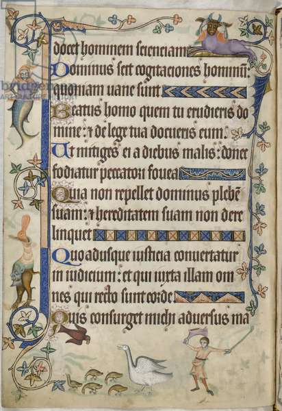 Add. 42130, f.169v, Psalm 93, Geese with goslings, from 'Luttrell Psalter', c.1325-35 (vellum)