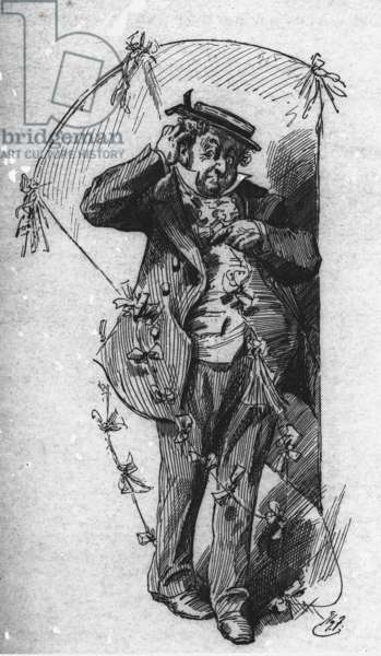 Mr Dick with his kite, from 'David Copperfield', by Charles Dickens, 1910 (engraving)