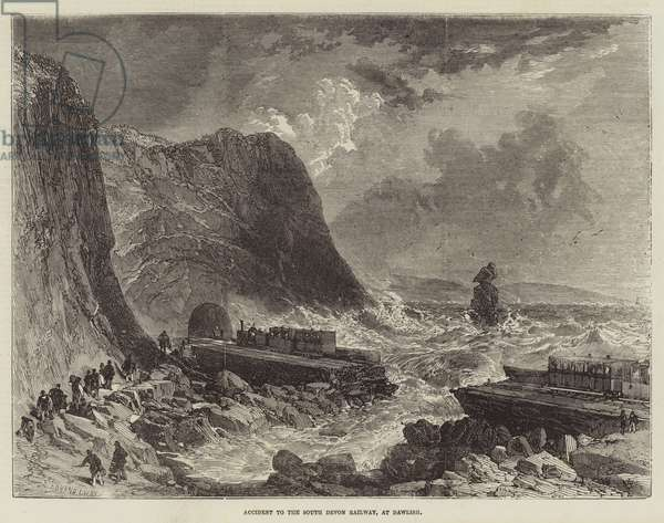 Accident to the South Devon Railway, at Dawlish (engraving)