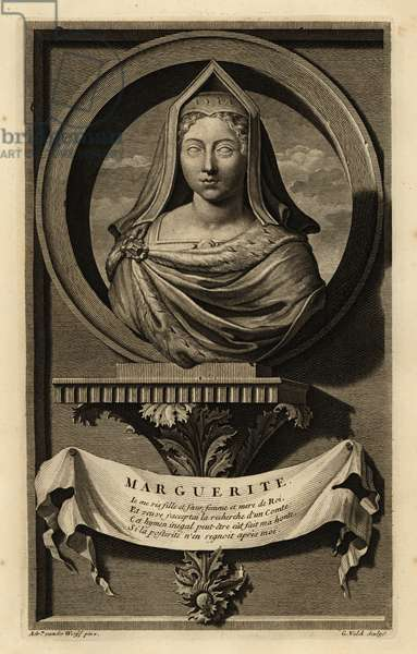 Portrait of a bust of Margaret Tudor, Queen of Scots, wife to King James IV of Scotland. In English hood or gable hood. Marguerite. Copperplate engraving by Gerard Valck after Adriaen van der Werff from Isaac de Larrey's Histoire d'Angleterre, d'Ecosse et d'Irlande, Reinier Leers, Rotterdam, 1713.