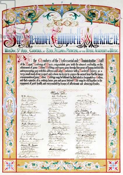 Citation and address to Sir Alexander Mackenzie