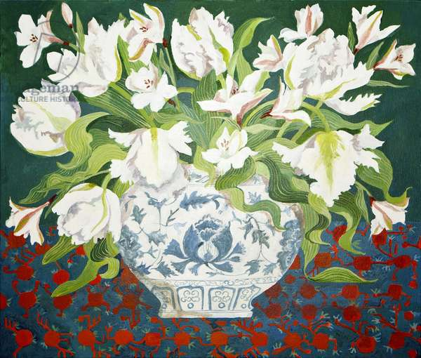 White double tulips and alstroemerias, 2013, acrylic on canvas
