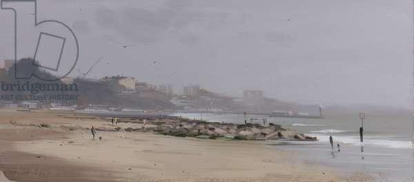 Looking East on Bournemouth beach, light rain, April