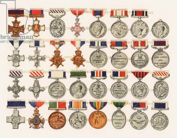 British military medals (colour litho)