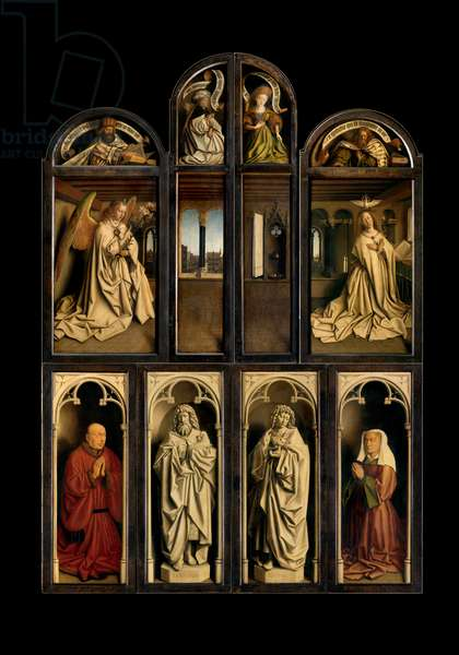 Exterior of Left and Right panels of The Ghent Altarpiece, 1432 (oil on panel)
