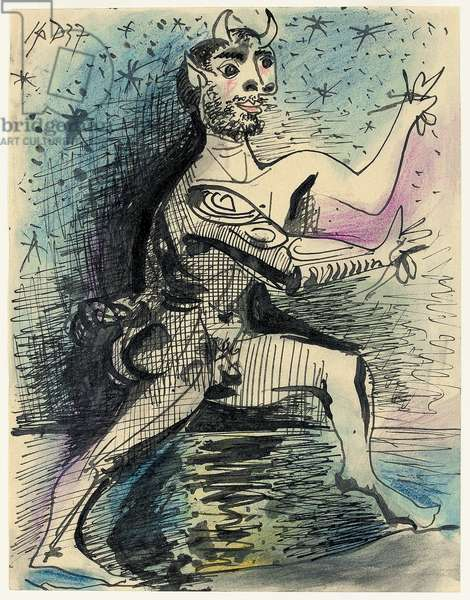 Faun Running on a Beach; Faune courant sur une plage, 1937 (wax crayon, pen and brush and India ink on paper)