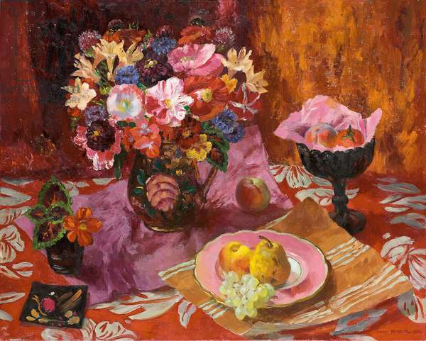 Still life with Poppies, Azaleas and Fruit, 1979 (oil on canvas)