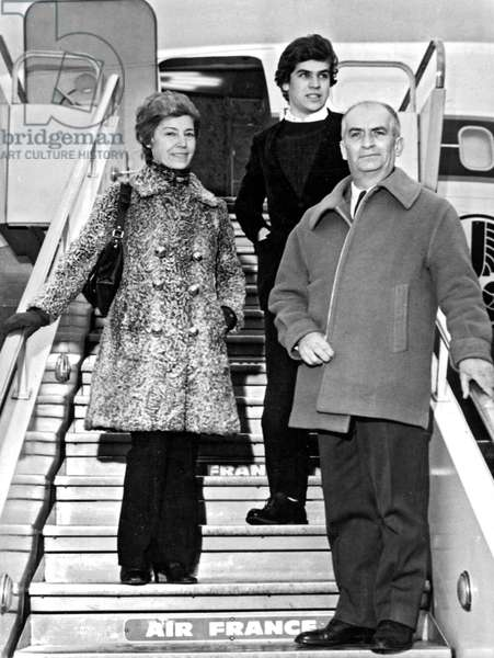 French Actor Louis De Funes With his Wife Jeanne and Their Son Olivier in Departure For Rome For Film The One Man Band February 20, 1970 (b/w photo)