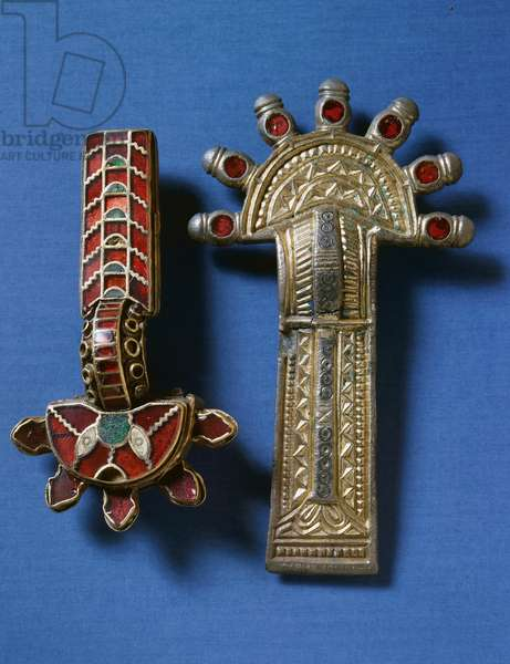 Silver gilt brooches with vitreous paste inserts, Barbaric Civilization, 7th century (silver)