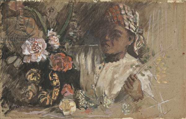 Black woman with peonies, c.1870 (w/c, gouache, chalk & graphite on card)