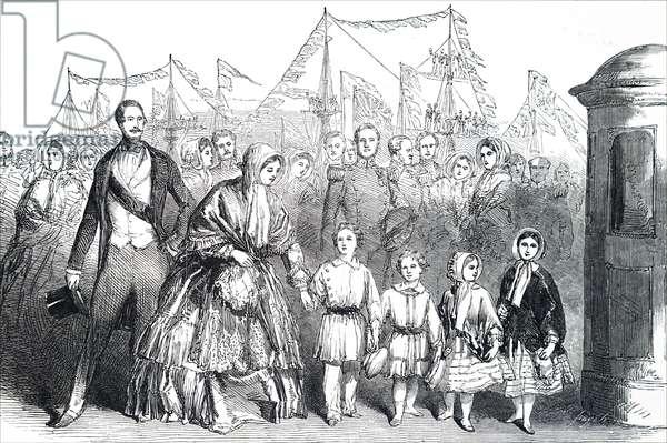 Queen Victoria and Prince Albert with their four eldest children.