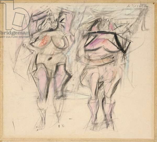 Two Women II, 1952 (graphite and coloured pencil on paper)