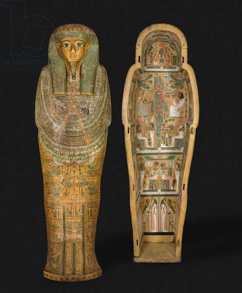 Coffin of Bakenmut, Late 21st to Early 22nd Dynasty, c.1000-900 BC (gessoed & painted sycamore)
