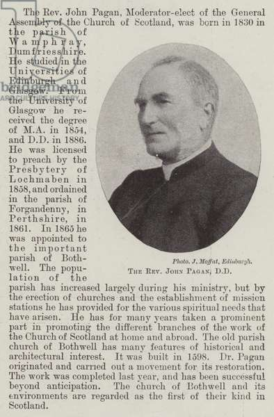 The Reverend John Pagan, DD (b/w photo)